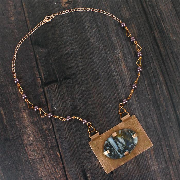 Turkish Delight; 140cts Turkish Agate, 36cts Garnet, Swarovski Pearls, Copper Sheet & Wire