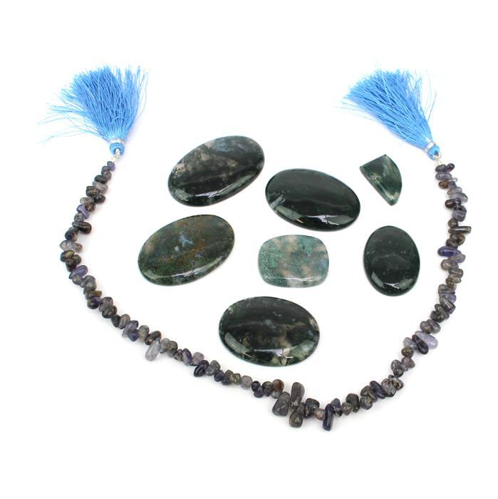 Quick Pendants. Inc; 244cts Moss Agate Multi Shape Cabochons & Glue-on Pendant Bails.