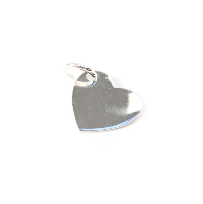 925 Sterling Silver Plain Polished Heart Pendant Approx 12mm