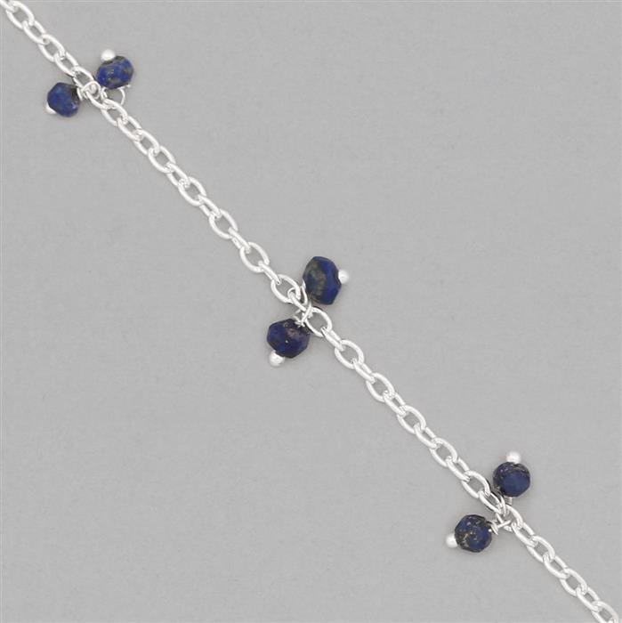 1m Silver Plated Brass Cluster Chain Inc. 12cts Lapis Lazuli Faceted Rondelles Approx 3x2mm