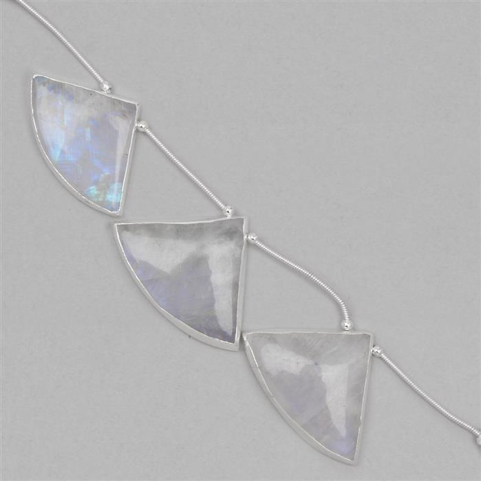 90cts Electro Plated Rainbow Moonstone Gemstones Approx 30 to 32mm, 8cm Strand.