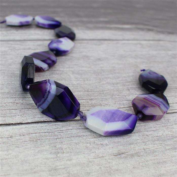 610cts Purple Stripe Agate Faceted Slabs Approx 24x35mm, 38cm