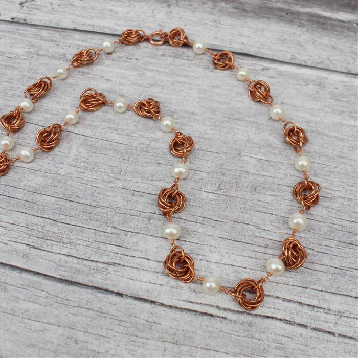 Snowdrops INC bare copper jumprings (3mm; 4mm; 5mm & 7mm) & white cultured pearl strands