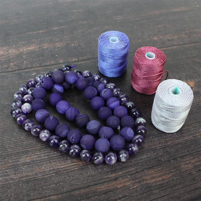 Purple Pizazz! Frosted Agate Rounds with Druzy 12mm, Sage Amethyst 10mm & Nylon Cord 0.9mm