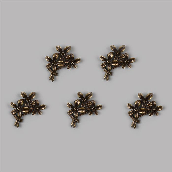 Antique Bronze Plated Oxidised Flower Charm - 28x21mm (5pcs/pk)