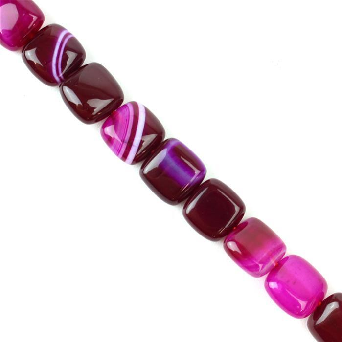 200cts Fuchsia Stripe Agate Puffy Squares Approx 12mm, 38cm/strand