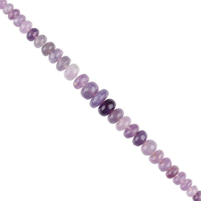 25cts Purple Chalcedony Graduated Plain Rondelles Approx 3x2 to 7x3mm, 8cm Strand.