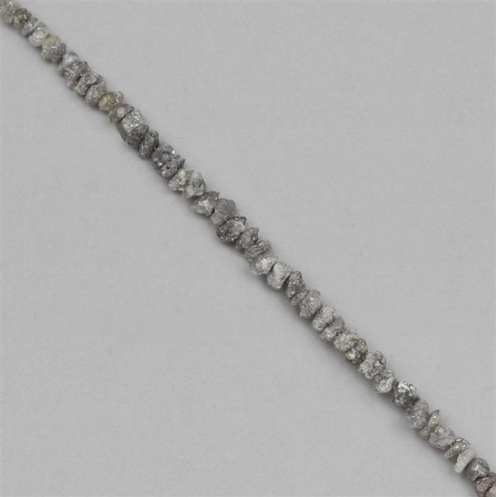 8cts Silver Diamond Graduated Small Nuggets Approx 2x1 to 3x2mm, 12cm Strand.