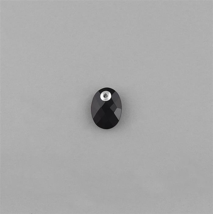925 Sterling Silver Eyelet Charm Approx 16x12mm Inc. 6.40cts Black Onyx Briolette Oval with Hole Size 1mm.