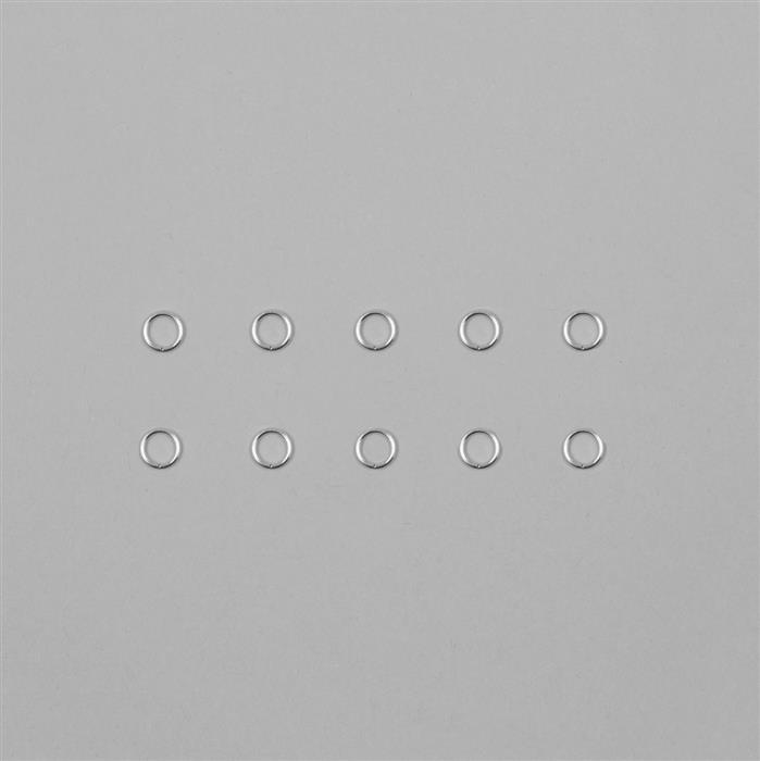 9ct White Gold Open Jump Ring 0.70mm Gauge 4.00mm (10pcs)