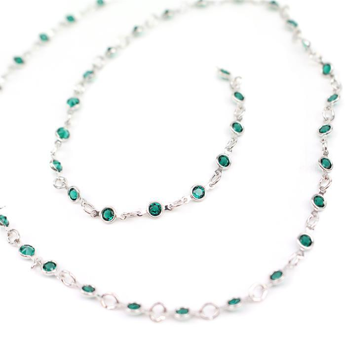 Swarovski Small Channel Chain, 90001, Emerald, Rhodium Brushed, 50cm
