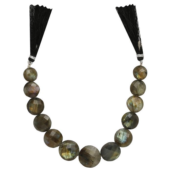 150cts Labradorite Graduated Faceted Buttons Approx 11 to 17mm, 17cm Strand.