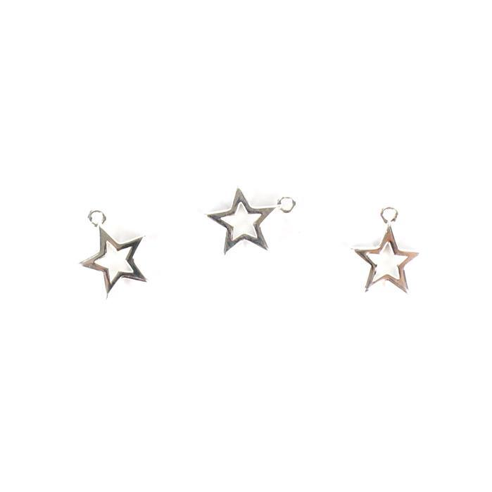 925 Sterling Silver Star Outline Charms Approx 10mm, 3pcs