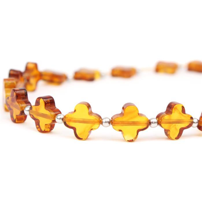 Baltic Cognac Amber Flower Beads Approx 8mm, 20 cm Strand Inc. Sterling Silver Spacers