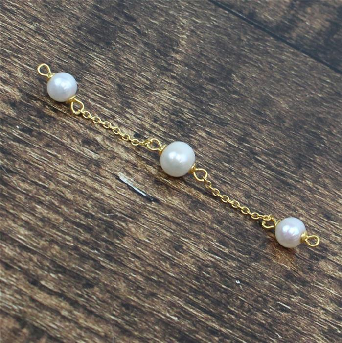 Gold Plated 925 Sterling Silver Triple Freshwater Cultured Pearl Bracelet Connector Approx 70mm, 1pc
