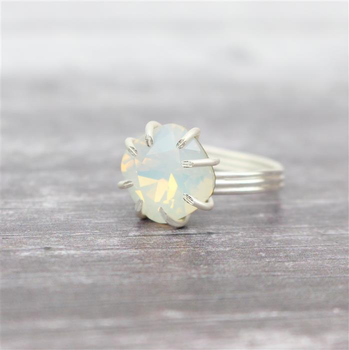 Elegance; Sterling Silver Wire & Swarovski Cushion Cut Stone- White Opal Colour 12mm, 3pcs