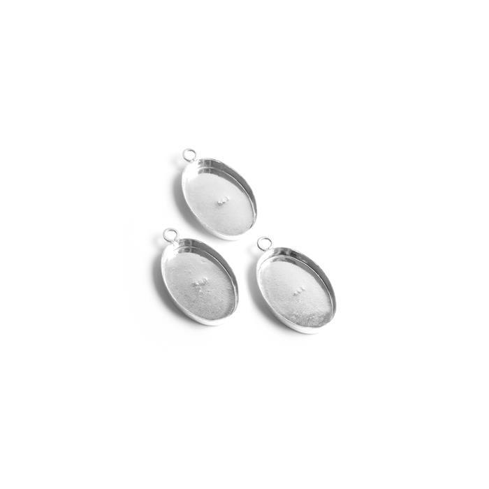 925 Sterling Silver Oval Bezel Pendant Approx 17x10mm, (Pack of 3Pcs)