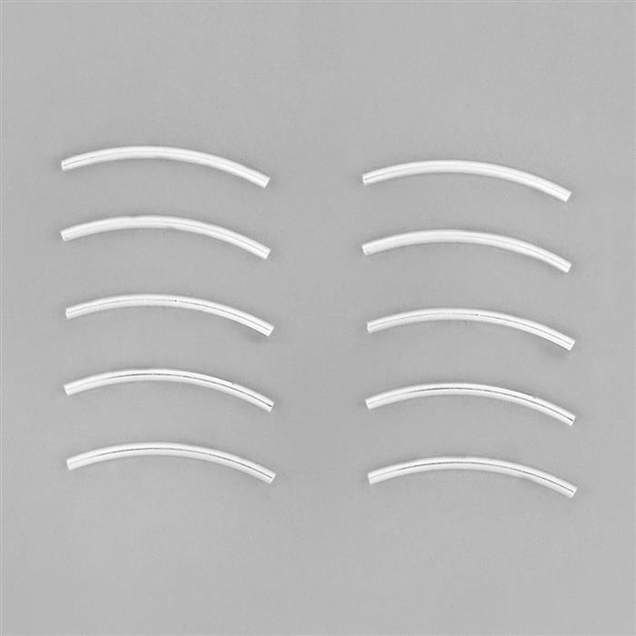 925 Sterling Silver Plain Curved Spacer Tubes - 30x1.5mm (10pcs/pk)