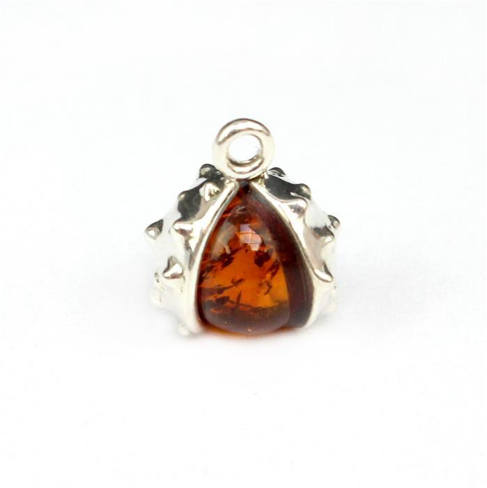 Baltic Cognac Amber Conker Charm, Sterling Silver, Approx 10x12mm