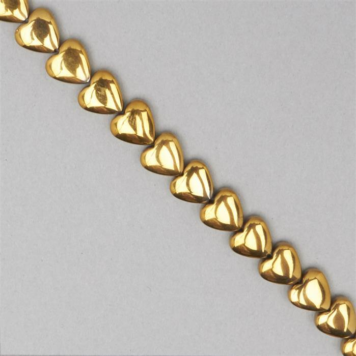 135cts Golden Colour Coated Haematite Plain Hearts Approx 8mm, 38cm Strand.