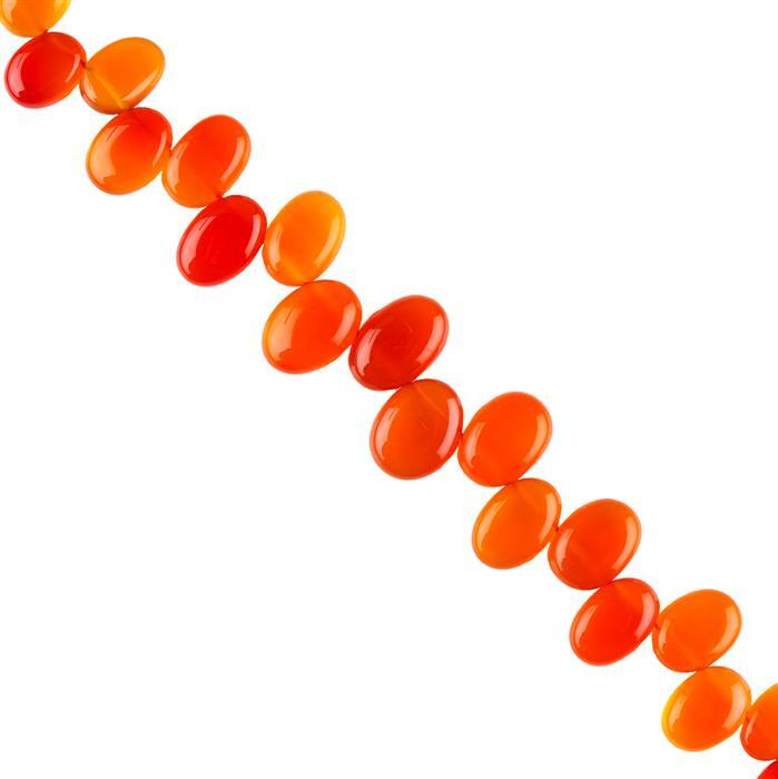 170cts Orange Chalcedony Graduated Plain Ovals Approx 11x8 to 16x11mm, 18cm Strand.