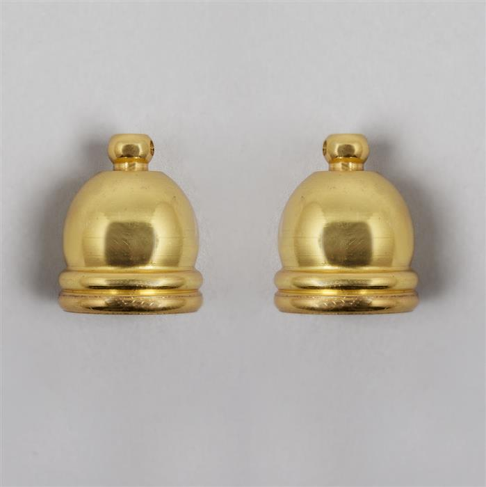 Gold Plated Brass Cord Ends Approx 16mm ID & 20mm OD  (2pcs)