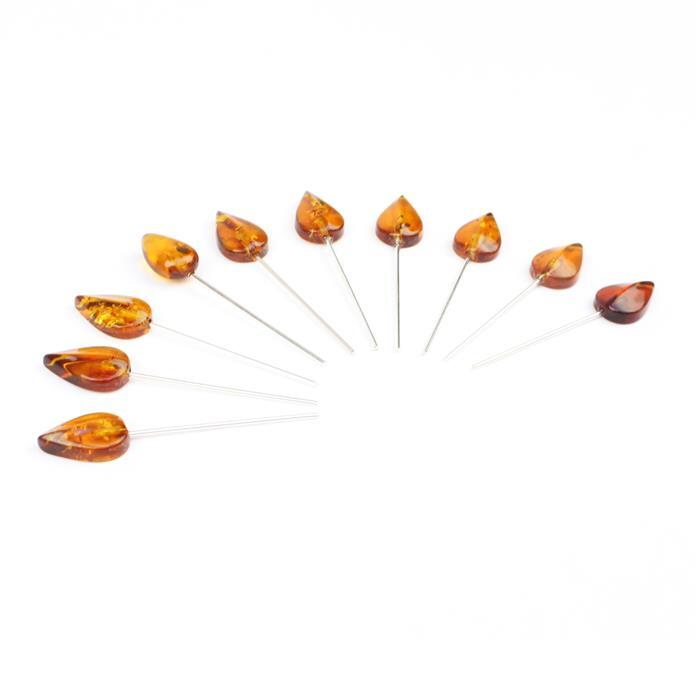Baltic Cognac Amber Drop Shaped Leaf Approx 12x8mm, Sterling Silver Headpins 0.76mm/22Gauge, 25mm (10Pc)