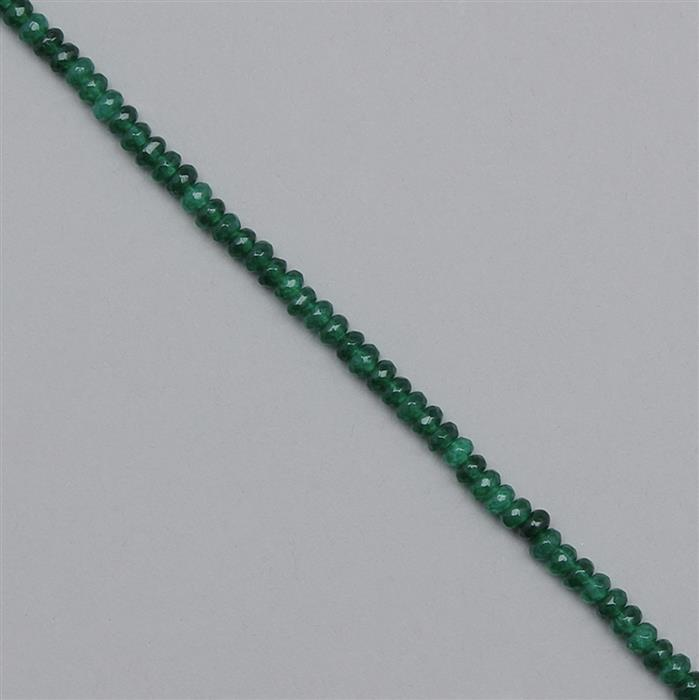 35cts Green Colour Dyed Quartz Faceted Rondelles Approx 3x2mm, 35cm Strand.