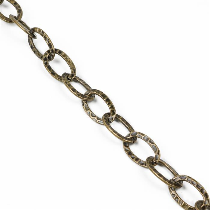 Antique Bronze Plated Iron Hammer Style Oval Link Chain - 21x13mm (1m)