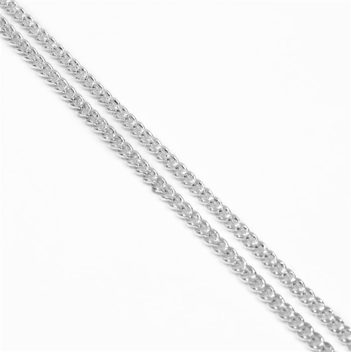 Silver Plated Brass Curb Chain - 3.6x4.5mm (1m)