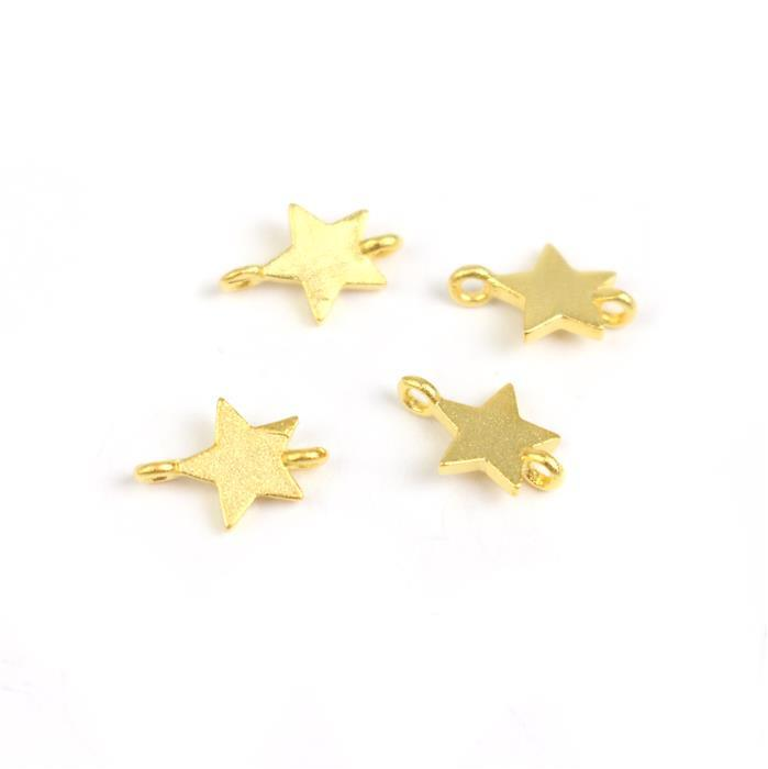 Gold Plated 925 Sterling Silver Matt Finish Star Connectors Approx 6x9mm (4pcs)