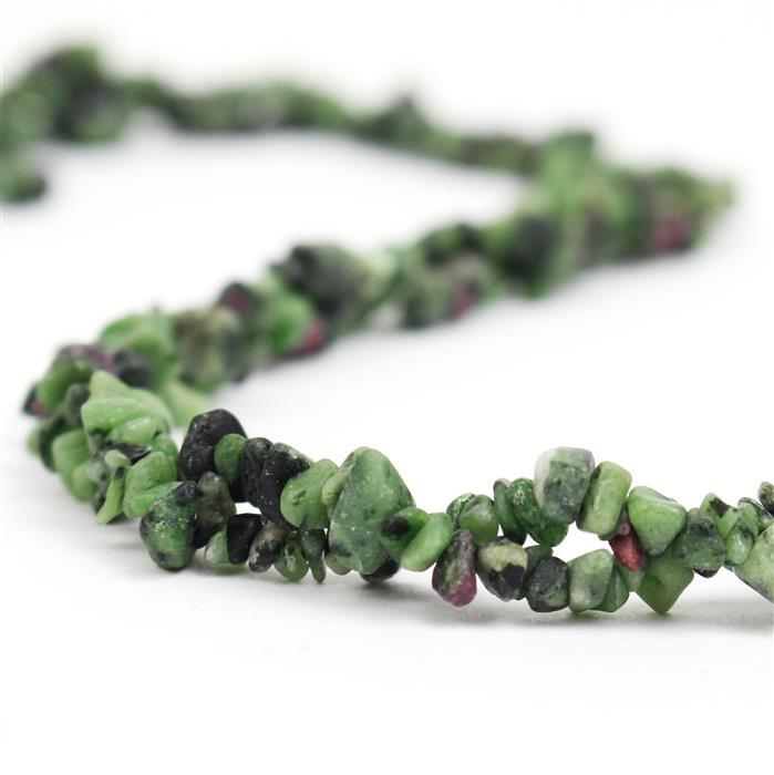240cts Ruby Zoisite Plain Small Nuggets Approx 2x1 to 8x3mm, 98cm Strand.
