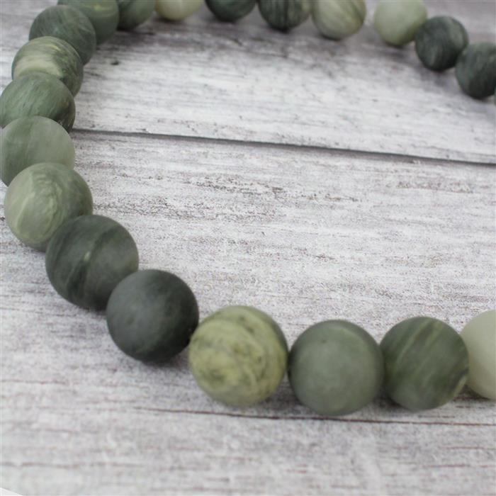 540cts Green Line Frosted Jasper Rounds Approx 14mm, 38cm strand