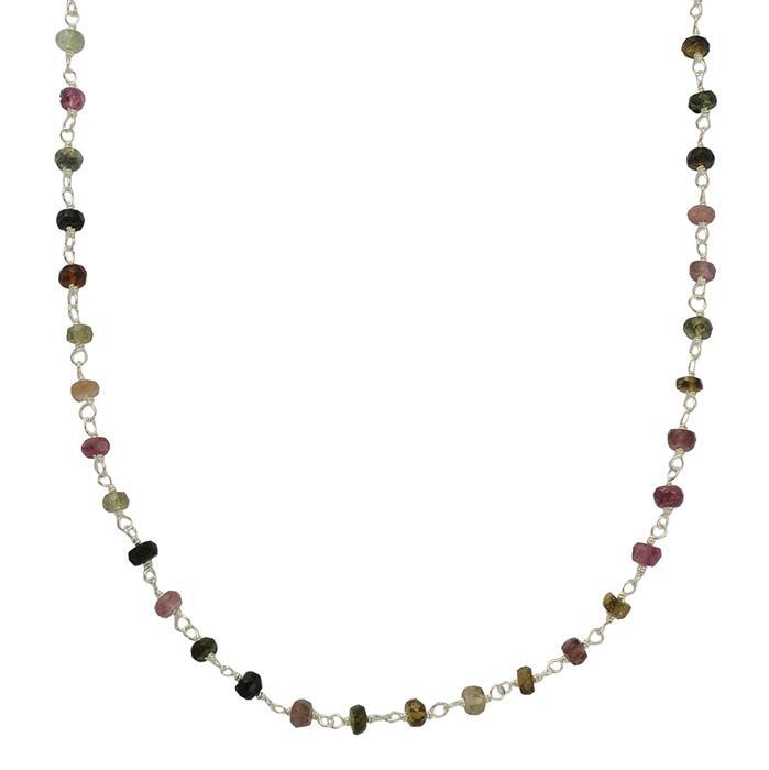 925 Sterling Silver Gemstone Chain Inc. 15cts Multi Tourmaline Faceted Rondelles Approx 3x2mm, Length Approx 50cm.