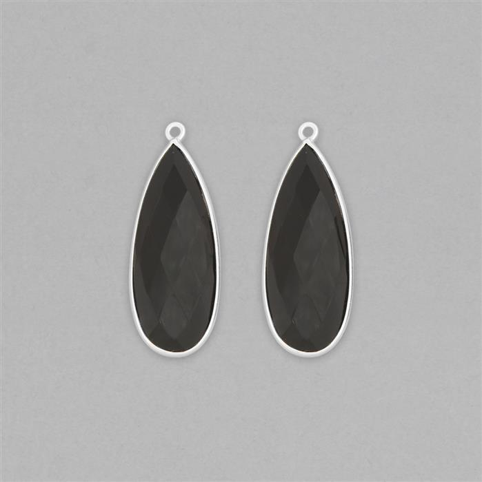 925 Sterling Silver Bezel Pendants Approx 36x14mm Inc. 28cts Black Onyx Faceted Pear Approx 30x12mm (2pcs)