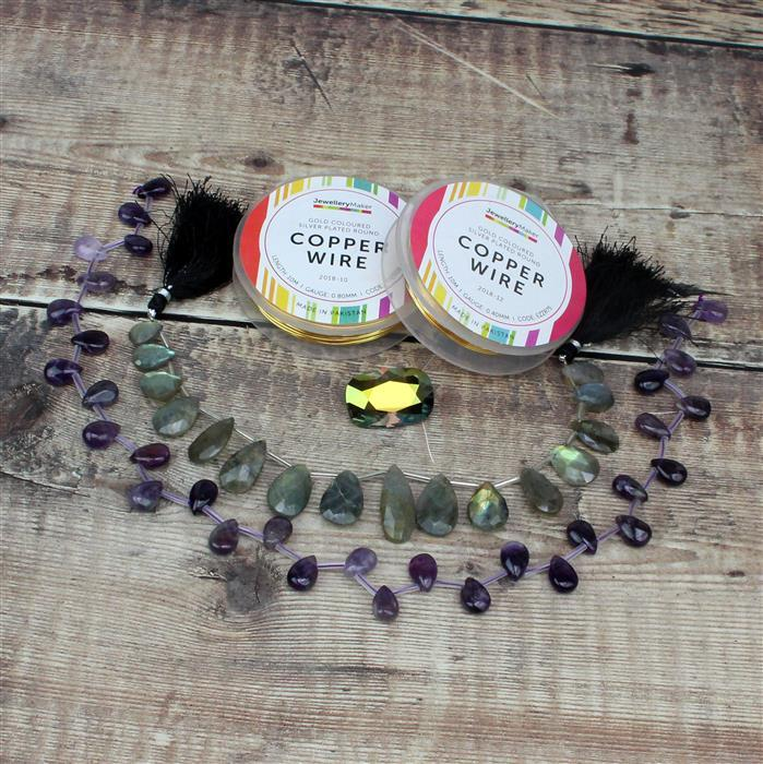 Pear Necessities;100cts Amethyst, 90cts Lavender Amethyst & 95cts Labradorite Pears, Wire