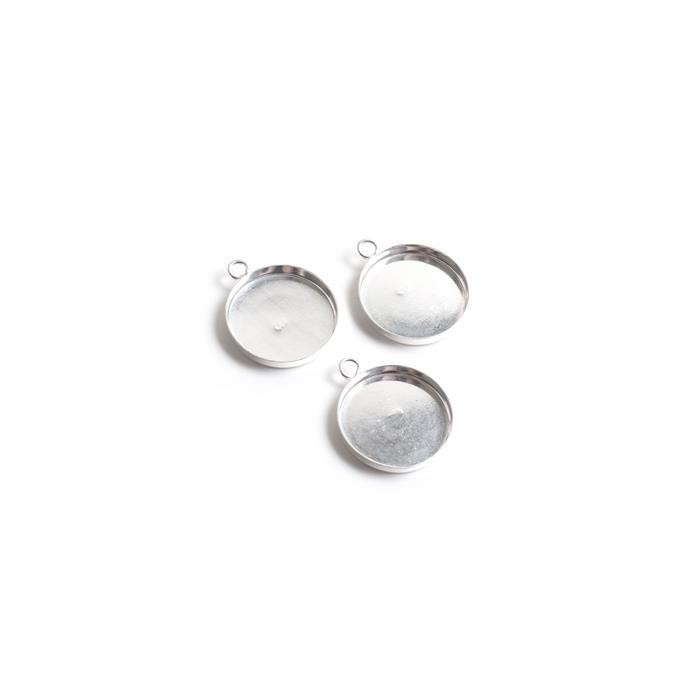 925 Sterling Silver 12mm Round Pendant Bezels. (Pack of 3Pcs)