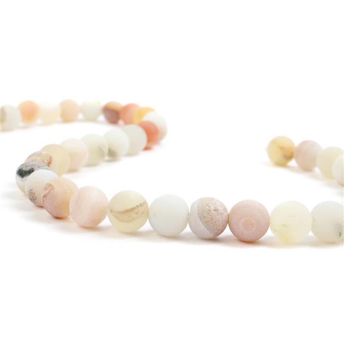 270cts White & Peach Frosted with Druzy hole Agate Plain Rounds Approx 10mm, 38cm Strand