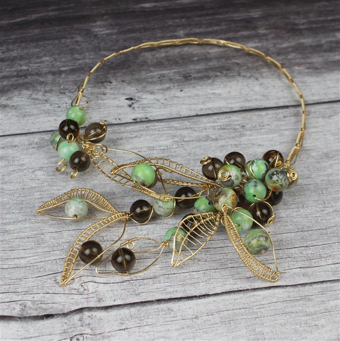 Woodland: 2 strands Smokey Quartz, Green Marble Agate rounds & Champagne gold colour wires