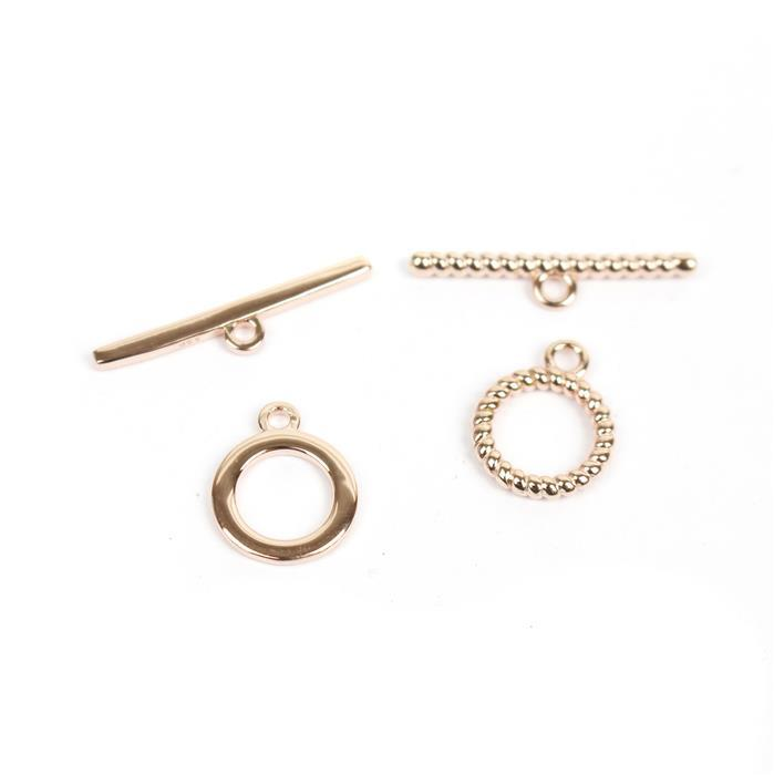 Double Trouble 2x Rose Gold 925 Sterling Silver Twist Effect Toggle Clasp & Flat toggle