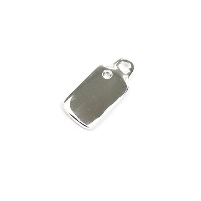 925 Sterling Silver Mini Tag With Cubic Zirconia Approx 15x7mm