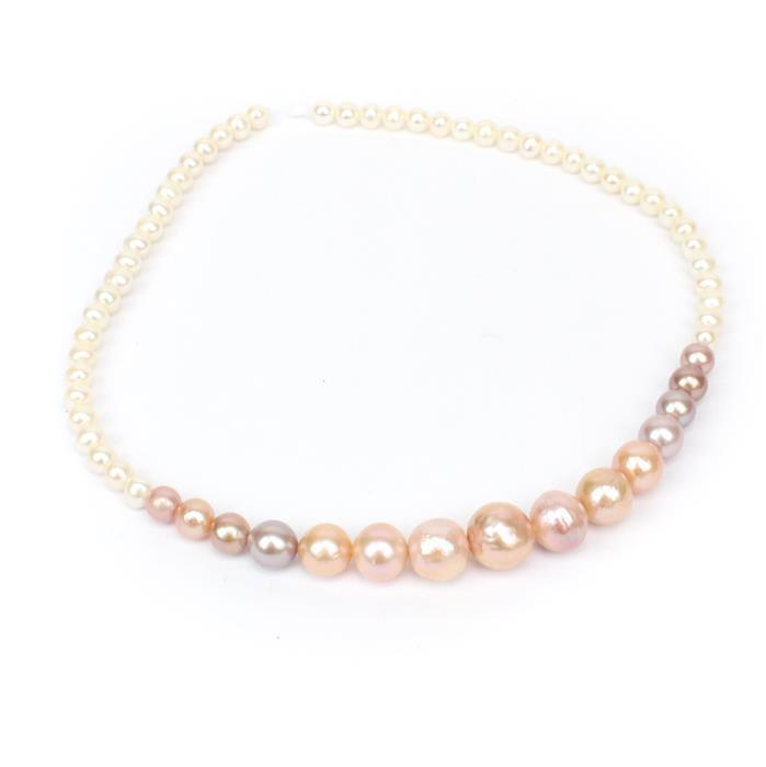 White and Multi Colour Graduated Pearls Approx 5-14mm, 38cm Strand