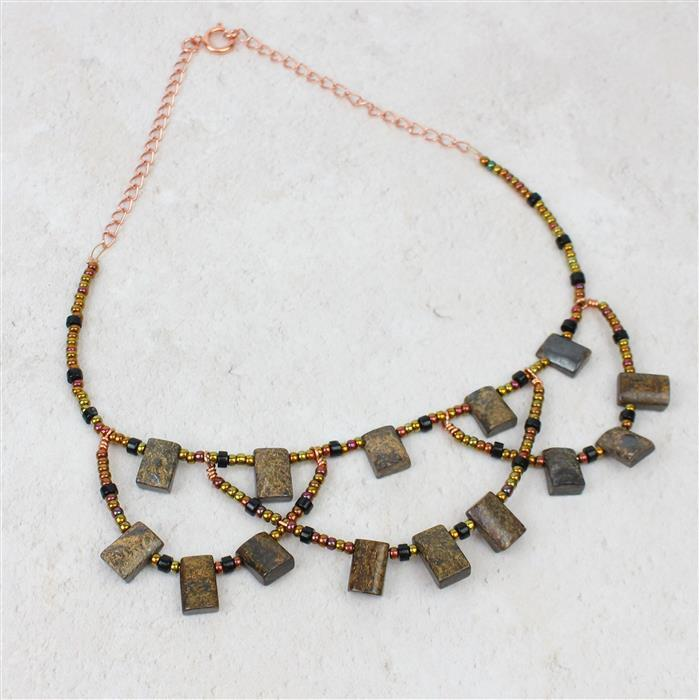 Bold in Bronze; 170cts Bronzite Rectangles, 40cts Black Agate Wheels, Threading & Findings