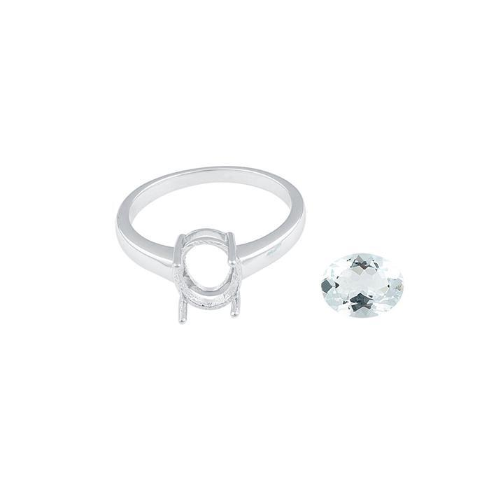 Size 7 - 925 Sterling Silver Ring Mount Fits Inc. 1.20cts Aquamarine Brilliant Cut Oval 9x7mm.