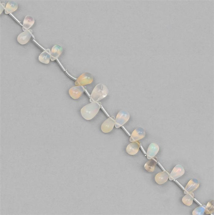12cts Ethiopian Opal Graduated Plain Drops Approx 3x2 to 9x5mm, 9cm Strand.