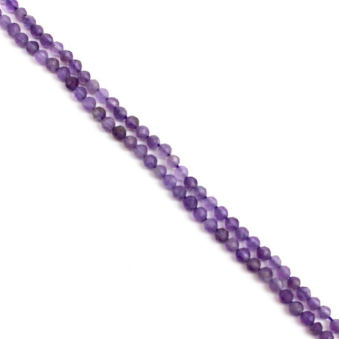 20cts Amethyst Faceted Rounds Approx 3mm, 38cm strand