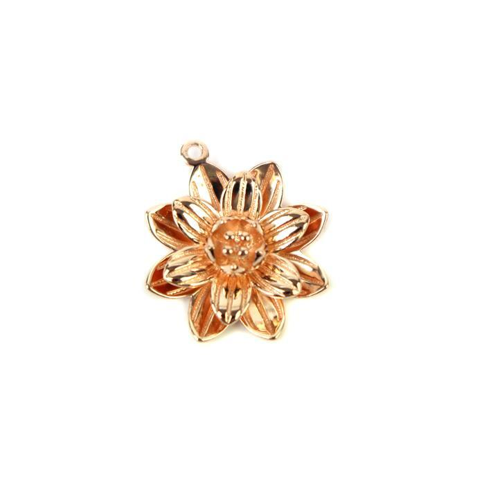 Rose Gold Plated 925 Sterling Silver 3D Lotus Flower Charm Approx 18x20mm, 1pc