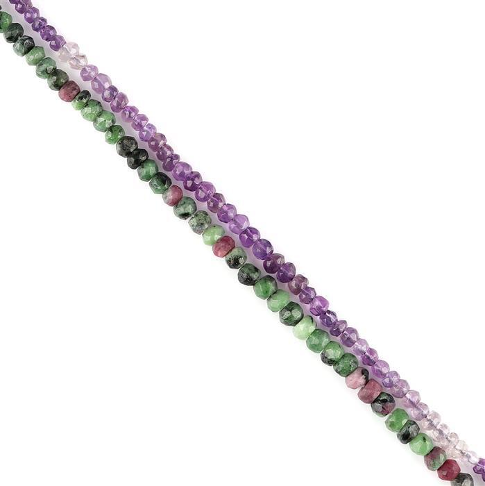 82cts Ruby Zoisite & Ombre Amethyst Graduated Faceted Rondelles Approx 2x1 to 5x4mm, 30cm Strand.