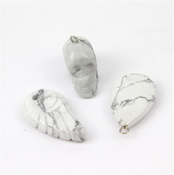Howlite Pendants! Inc; Skull, Drop & Angel Wing.