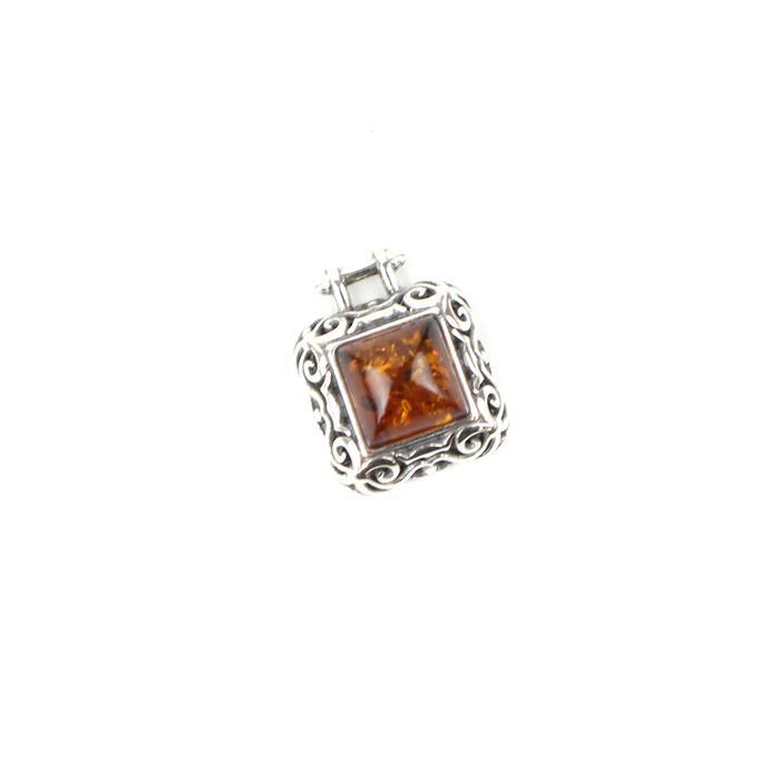 Baltic Cognac Amber Cabochon Square with Sterling Silver Element Approx 13x10mm